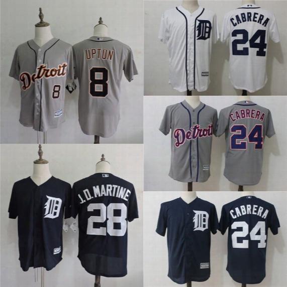 Cool Base Detroit Tigers Jersey Mens 8 Justin Upton 24 Miguel Cabrera 28 Jd Martinez 100% Stitched Embroidery Logos Baseball Jerseys
