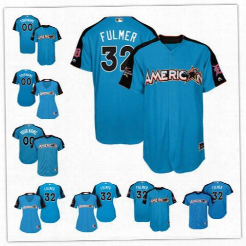 Custom 2017 All Star Detroit Tigers #32 Michzel Fulmer Blue Baseball With Team Patch Jerseys S-4xl Men Womens Youth Cabrera Iglesias Kinsler