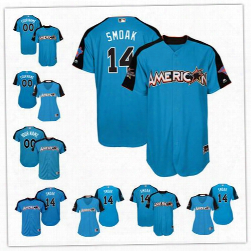 Custom 2017 All Star Toronto Blue Jays #14 Justin Smoak Blue Baseball With Team Patch Jersey S-4xl Men Women Youth Donaldson Bautista Osuna