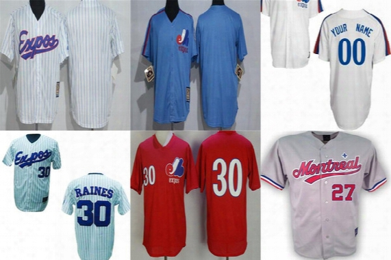 Custom 2017 Montreal Expos Mens Womens Kids Please Leave Any Name &no. Red Blue Grey White Pinstripe Cool Flex Baseball Jerseys Size Xs-6xl