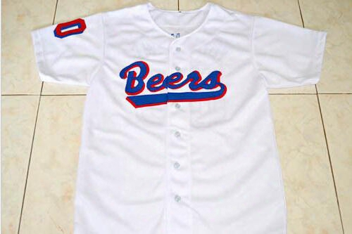 Custom Any Name And Number Baseketball Beers Movie Jersey Button Down Men's 100% Stitched 17 Doug Remer 44 Joe Coop Cooper Jerseys White