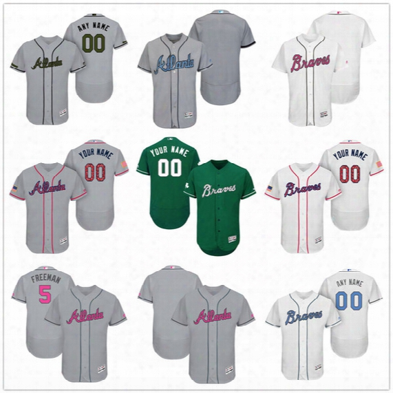 Custom Atlanta Braves Mother Father Memorial Independence Day #5 Freeman Swanson Jones Gray White Pink Green Stitched Mens Women Kid Jerseys