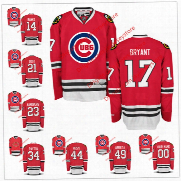 Custom Baseball Ice Hockey Nhl Mlb Fuse Jerseys Chicago Cubs Blackhawks Ernie Banks Kris Bryant Sammy Sosa Jason Heyward Water Payton Ryne S