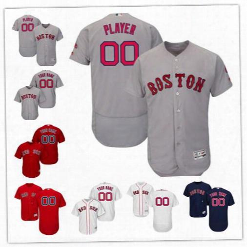 Custom Boston Red Sox Jerseys Stitched Men's Women's Youth Boston Red Sox Majestic White Red Blue Cool Base Flexbase Custom Jersey Free Ship