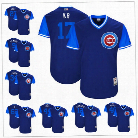Custom Chicago Cubs Nickname Jersey #17 Kb #27 Addy #9 El Mago Q Schwarbs Tony Willy Royal Blue 2017 Little League World Series