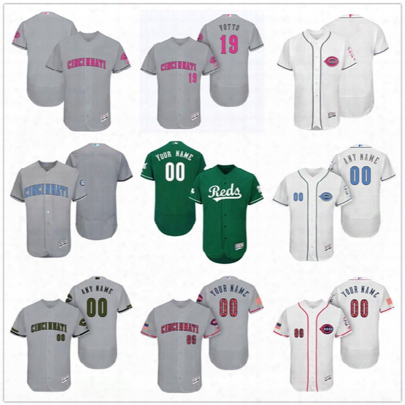 Custom Cincinnati Reds Mother Father Memorial Independence Day #19 Votto Cozart Hamilton Gray White Pink Green Stitched Men Women Kid Jersey