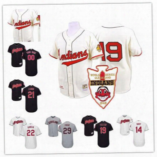 Custom Cleveland Indians 1948 World Series Lou Boudreau 14 Larry Doby 21 Bob Lemon 19 Bob Feller 29 Satchel Paige Cream Stitched Jerseys