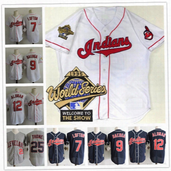 Custom Cleveland Indians 1995 World Series Jersey 17 Tony Pena 31 Dave Winfield 33 Eddie Murray 55 Hershiser 32 Dennis Martinez Navy White