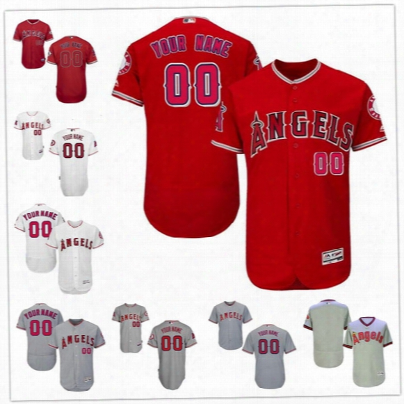 Custom Flex Base Los Angeles Angels Pujols Trout Calhoun Guerrero Carew Gray White Red Pullover Stitched Any Name Number Mens Jerseys S-4xl