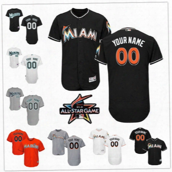 Custom Flex Base Miami Marlins Stanton Fernandez Ichiro Willis Gray White Orange Black Stitched Any Name Number Mens Florida Jerseys S-4xl