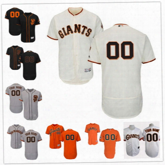 Custom Flex Base San Rfancisco Giants Pence Cain Posey Crawford Panik 40 Gray White Black Orange Stitched Any Name Number Mens Jerseys S-4xl