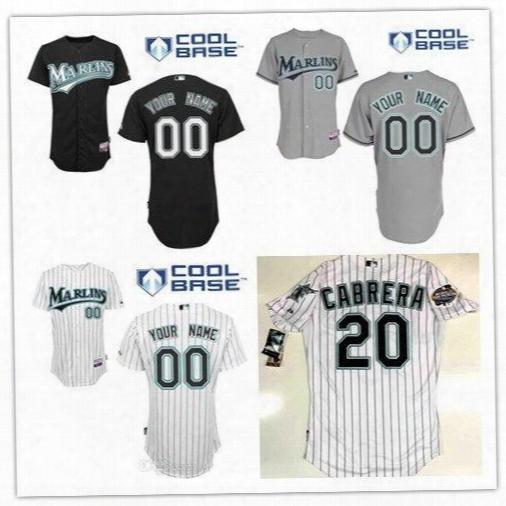 Custom Florida Marlins 2003 World Series 20 Miguel Cabrera White Gray 7 Ivan Rodriguez 35 Dontrelle Willis Burnett Size S-6xl