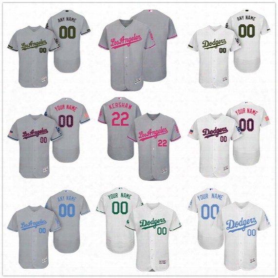 Custom Los Angeles Dodgers Mother Father Memorial Independence Day #22 Kershaw Seager La Gray White Pink Blue Stitched Men Women Kid Jerseys