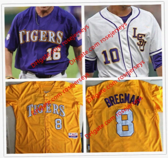 Custom Lsu Tigers College Baseball Cws Purple Gold White Mens Dj Lemahieu Alex Bregman Nola Gausman Stitched Any Name Number Jerseys S-4xl