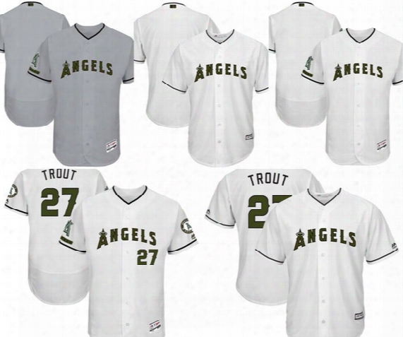 Custom Men's Los Angeles Angels Of Anaheim Mike Trout Majestic 2017 Memorial Day Cool Base Collection Flex Base Jersey