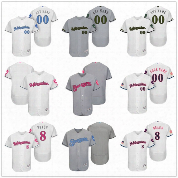 Custom Milwaukee Brewers Mother Father Memorial Independence Day #8 Braun Thames Arcia Gray White Pink Blue Stitched Men Womens Kids Jerseys