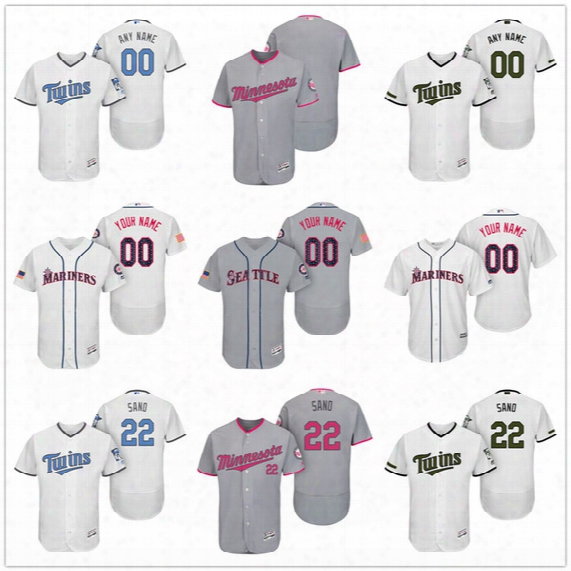 Custom Minnesota Twins Mother Father Memorial Independence Day #22 Sano Dozier Buxton Gray White Pink Blue Stitched Mens Womens Kids Jerseys