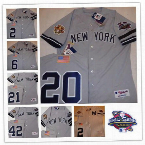 Custom New York Yankees 2001 World Series Three Patch 20 Jorge Posada 22 Roger Clemens 28 David Justice 33 Soriano White Gray Jerseys