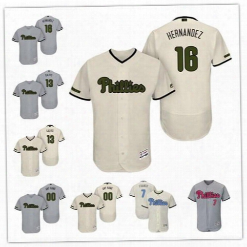 Cu$tom Philadelphia Phillies Franco Cream Gray 2017 Father Mother Memorial Day Stitched Any Name Number Mens Flex Base Jerseys S-4xl