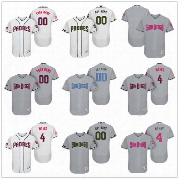 Custom San Diego Padres Mother Father Memorial Independence Day #4 Myers Hand Gwynn Gray White Pink Blue Stitched Men Womens Kids Jerseys