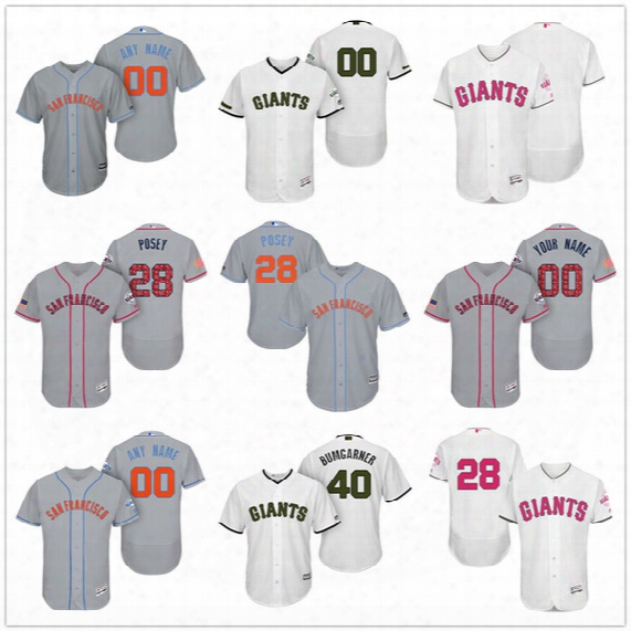 Custom San Francisco Giants Mother Father Memorial Independence Day #28 Posey Bumgarner Gray White Pink Blue Stitched Men Women Kid Jerseys