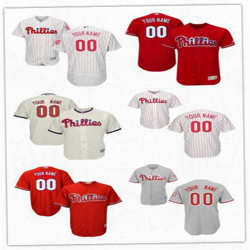 Customized 2017 Mlb Philadelphia Phillies Men's Jerseys Baseball Any Name Any Number Red White Grey Cream Flexbase Coolbase Shirt Custom