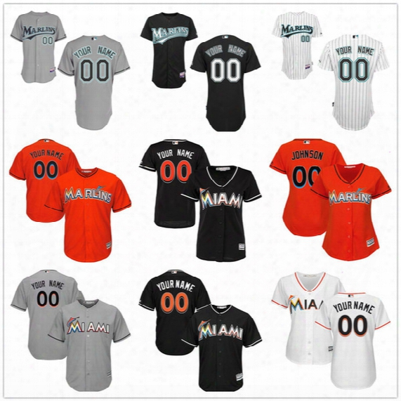 Customized Florida Marlins Miami Mens Womens Youth Gray Road White Home Black Orange Throwback Sewn On Your Own Name Number Jerseys S,4xl