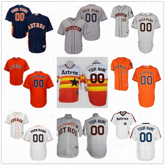 Customized Houston Astros Mens Womens Youth Kids Gray Road White Blue Orange Vintage Personalized Sewn On Your Own Name Number Jerseys S,4xl