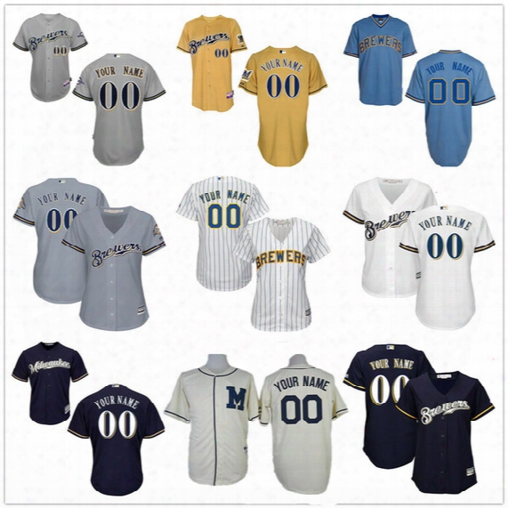Customized Milwaukee Brewers Mens Womens Youth Kids Gray Road White Navy Blue Vintage Personalized Sewn On Your Own Name Number Jersey S,4xl