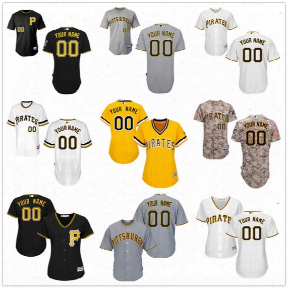 Customized Pittsburgh Pirates Mens Womens Youth Kids Gray Road White Gold Camo Black Personalized Sewn On Your Own Name Number Jerseys S,4xl