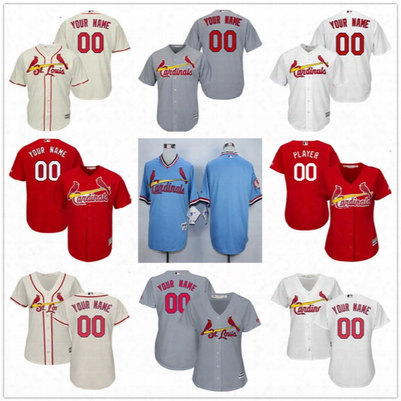 Customized St. Louis Cardinals Mens Womens Kids Gray Road White Cream Red Blue Personalized Sewn On Your Own Name Number Jerseys S,4xl