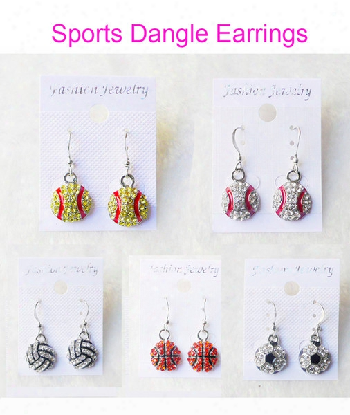 Dangle Earring Softball Baseball Football Basketball Volleyball Soccer Bowling Skating Rhinestone Crystal Bling For Girls Sports