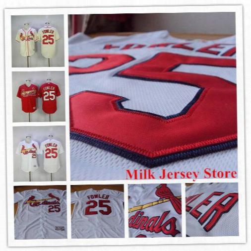 Dexter Fowler Cardinals Jersey 25 St. Louis Cardinals Baseball Jerseys White Red Cream