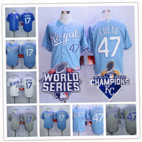 Discount Mens Kansas City Royals 2015 World Series Champions #17 Waed Davis Light Blue #47 Johnny Cueto Gray Top Stitched Baseball Jerseys