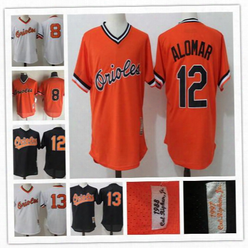 Embroidered Mens Baltimore Orioles 13 Manny Machado Black 8 Cal Ripken Jr. White 12 Roberto Alomar Orange 1988 1997 Retro Mesh Bp Jerseys
