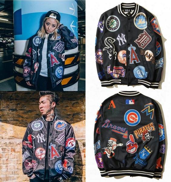 European Style Streetwear Hba Harajuku Punk Letters Printed Baseball Jersey Mlb Cardigan Jacket Hip Hop Autumn Coat For Boys And Girl Zj1408