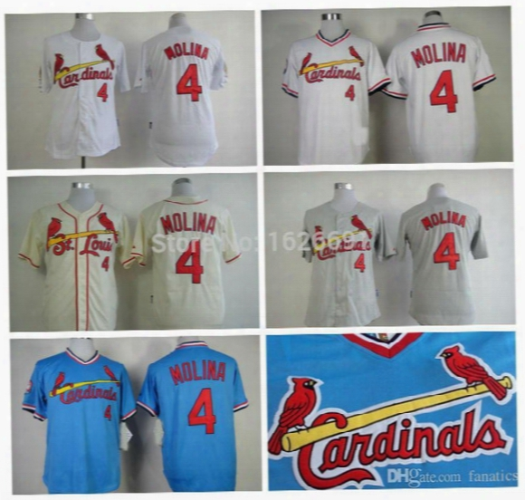 Factory Outlet 4 Yadier Molina Throwback Jersey St. Louis Cardinals Baseball Jerseys White Blue Yadier Molina Vintage Cool/flex Base Jerseys
