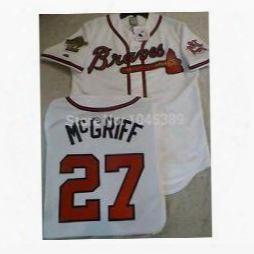 Factory Outlet Atlanta Braves 27 Fred Mcgriff 1995 World Series 30th Throwback White Grey Red Hot Baseball Jersey,size (s-3xl),free Shipping