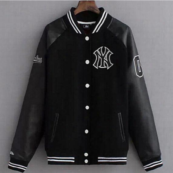 Fall-leather Sleeve Baseball Jacket Men Hip Hop Streetwear Brand Wool Sport Coat College Letterman Black Varsity Jackets For Men