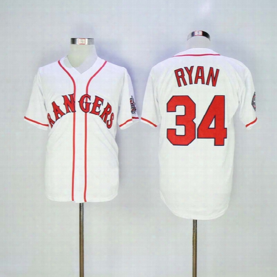 Fast Men's Texas Rangers 2016 Baseball Jersey #34 Nolan Ryan White Throwback Stitched Jerseys Red Name And Number