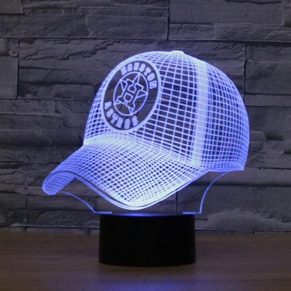 Free Shipping 7 Colors Changing Mlb Baseball Team Houston Astros Decor Night Light Acrylic Baseball Cap Illusion Desk Lamp For Bedroom