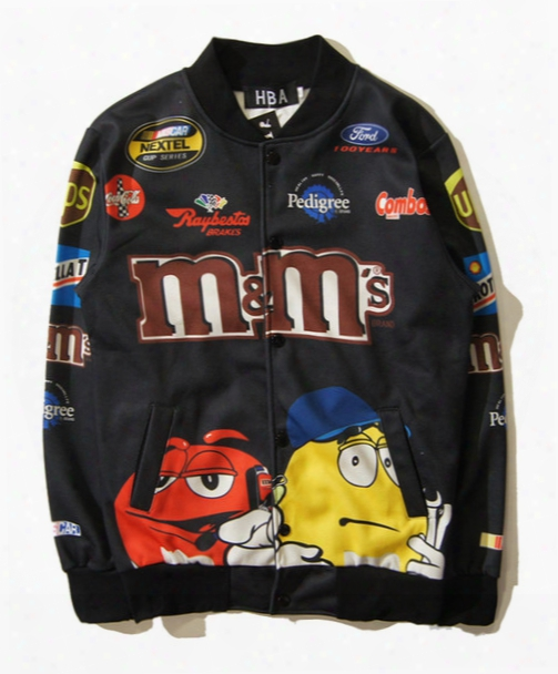 Free Shipping Autumn Winter M & M Chocolate Racing Spoof Logo Baseball Uniform Sweater Cardigan Jacket Men/women Clothes