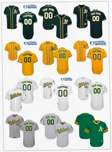 Free Shipping Cheap 2017 Flexbase Custom Men Oakland Athletics Baseball Jerseys Cool Base Stitched Size S-6xl