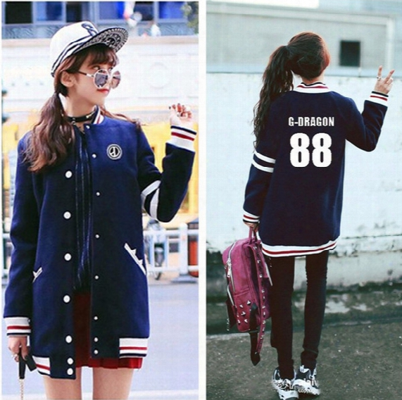 Gd G-dragon Casual Baseball Uniform Bigbang Style Coat