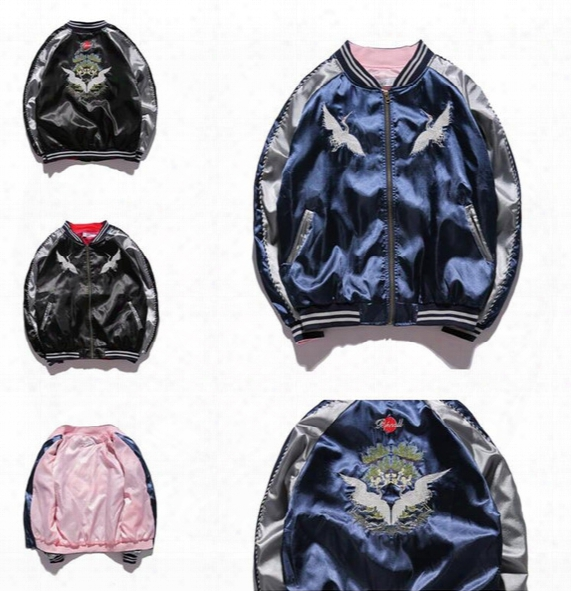 Harajuku Yokosuka Jackets For Men Women Bomber Jacket Embroidery Silk Baseball Jacket Windbreaker Pilot Flight Jacket