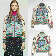 High Quality Designer-like Fall Fashion 2016 Runway Jacket Women's Floral Print Luxury Butterfly Bird Emrboidery Baseball Bomber Jackets
