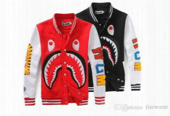 High Quality Loves Casual Swater Printing Sharks Baseball Jacket Uniform Fashion Cartoon Sweatshitr Coats Free Shipping