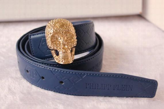 Hot  Kind P Belt High Quality Ceinture Blue Color Genuine Leather Designer Skull Punk Cowhide Riem Q Belts For Mens Womens Luxury Mc Belts