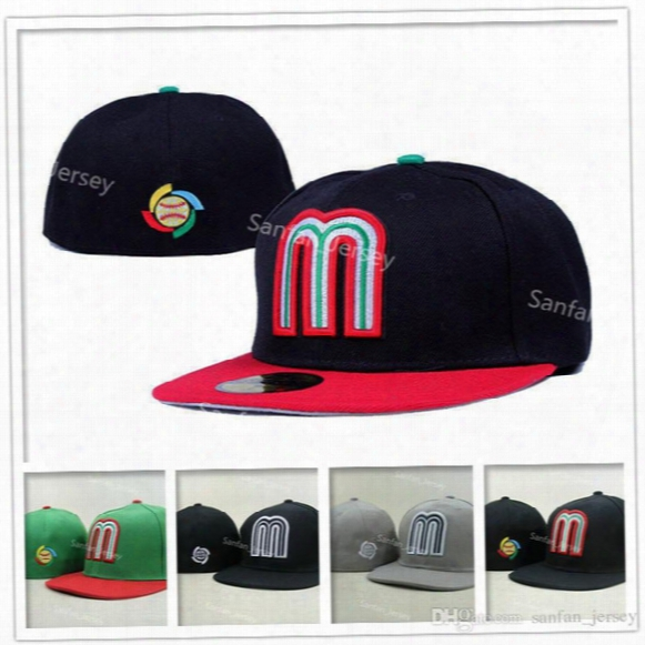 Hot Sale Mexico Baseball Cap Embroidery Team Logo Gorra De Beisbol Full Closed Design Mexico Fitted Caps For Men & Women Sport Hat