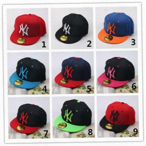 Hot Sell 9 Colors Ny Baseball Cap Kids Snapback High Quality Ny Letter Embroidery Children Cotton Baseball Cap Boys Girls Fashion Hats Q0665
